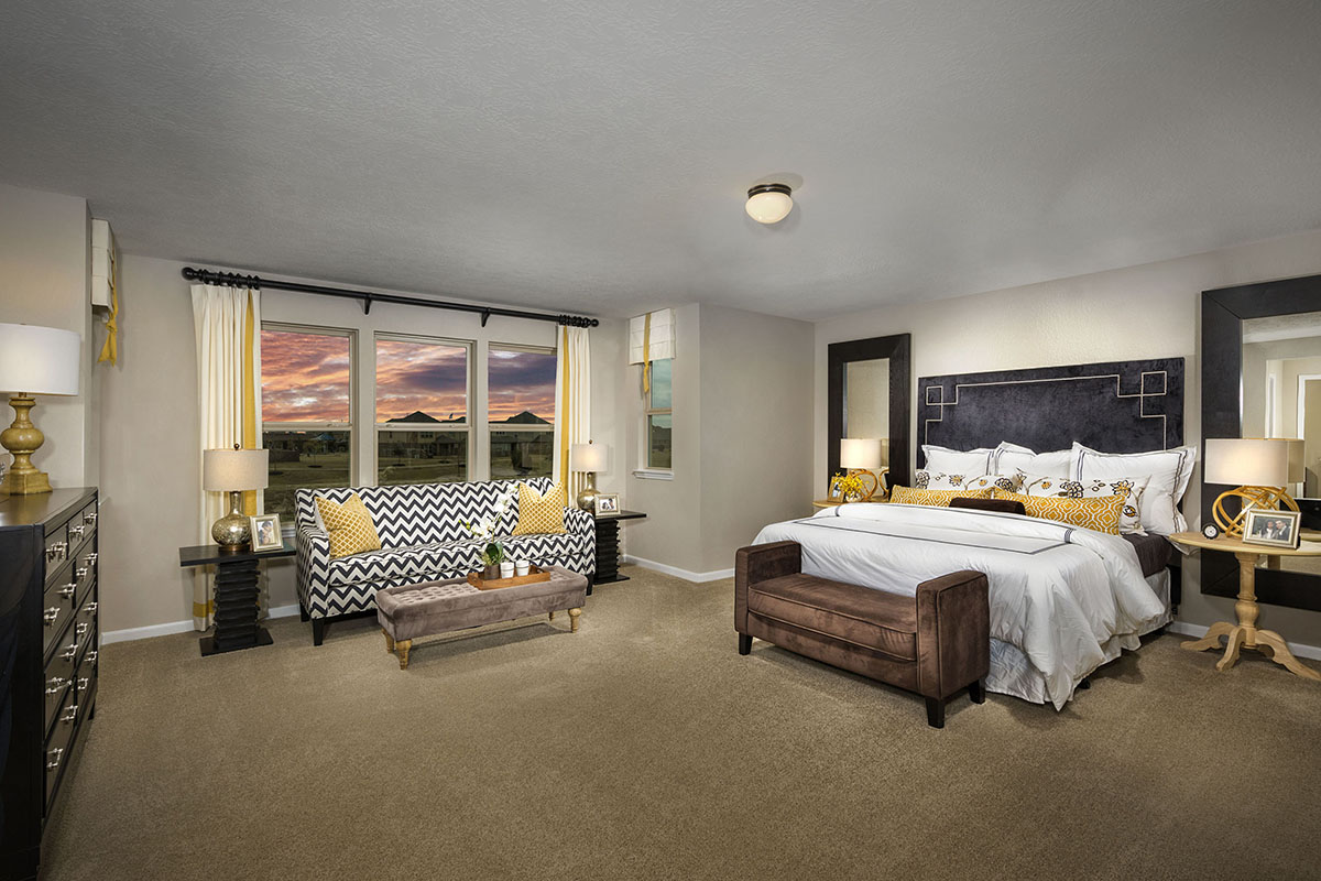 New Homes in La Marque, TX - Sunset Grove Plan 2936 Master Bedroom as modeled at Anserra Preserve