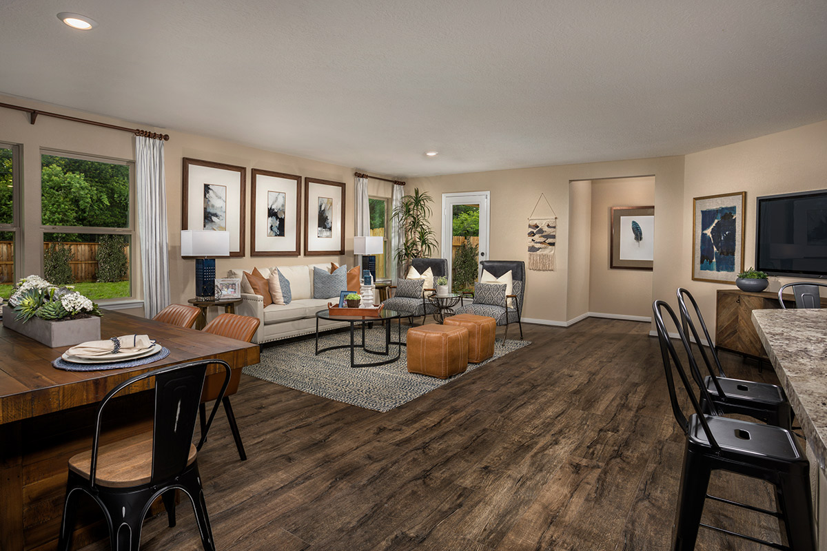 New Homes in Spring, TX - Spring Creek Plan 1585 Great Room as modeled at Benson Trace
