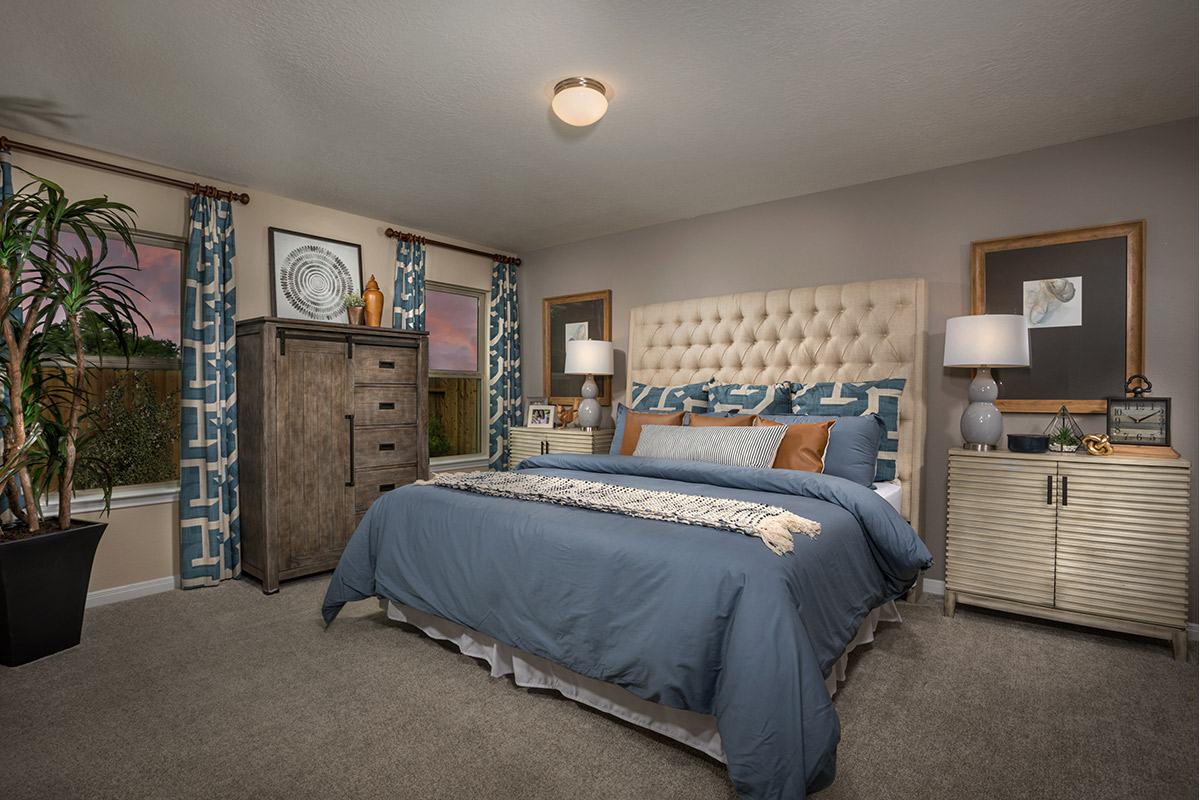 New Homes in Spring, TX - Spring Creek Plan 1585 Master Bedroom as modeled at Benson Trace