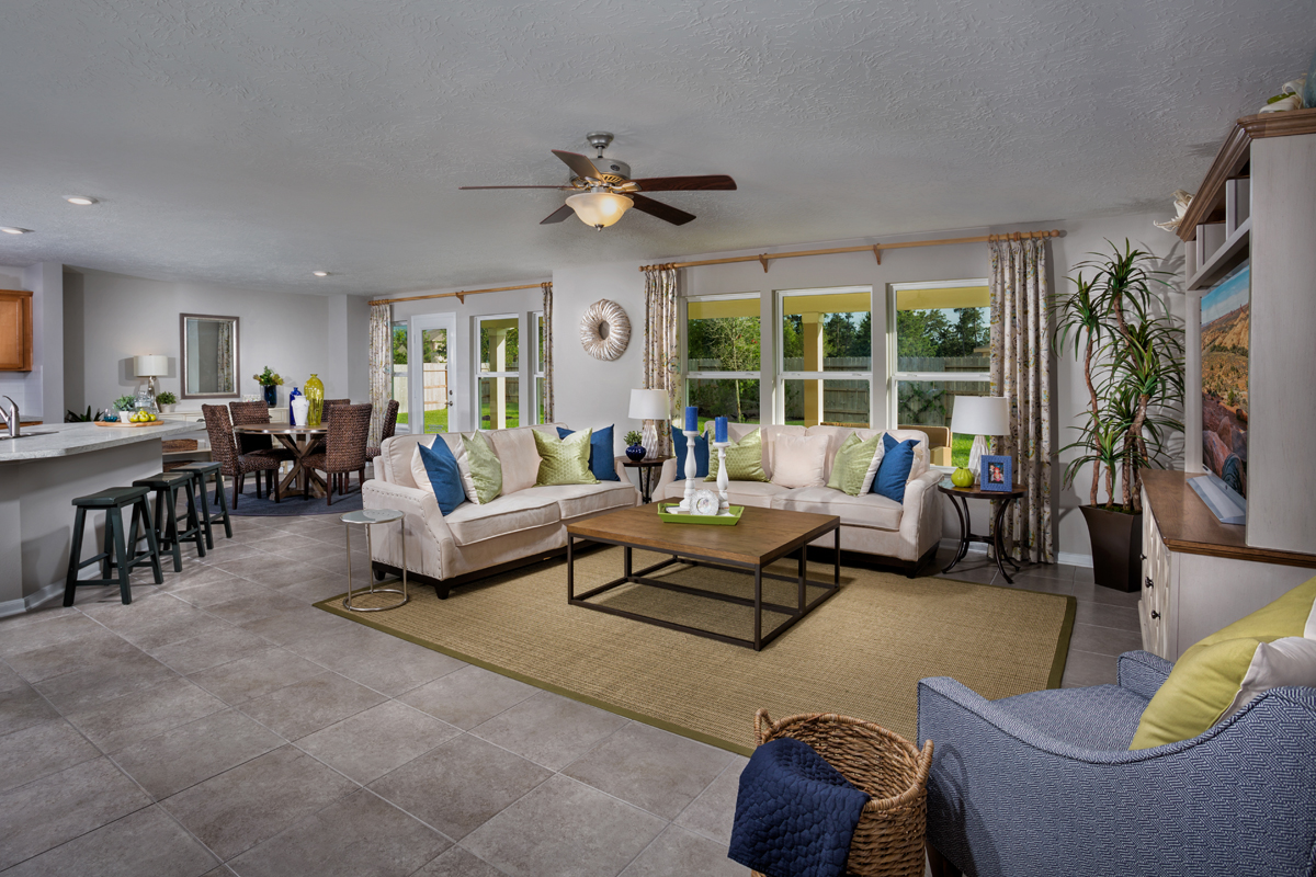 KB model home great room in Porter, TX