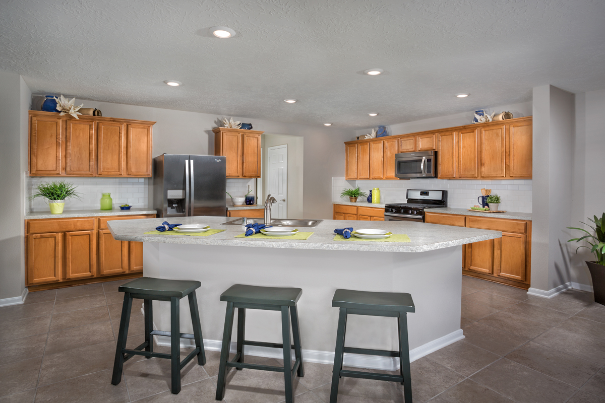 KB model home kitchen in Porter, TX