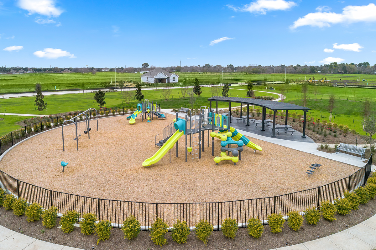 Amenity park and playground at a KB Home community in Rosenberg, TX