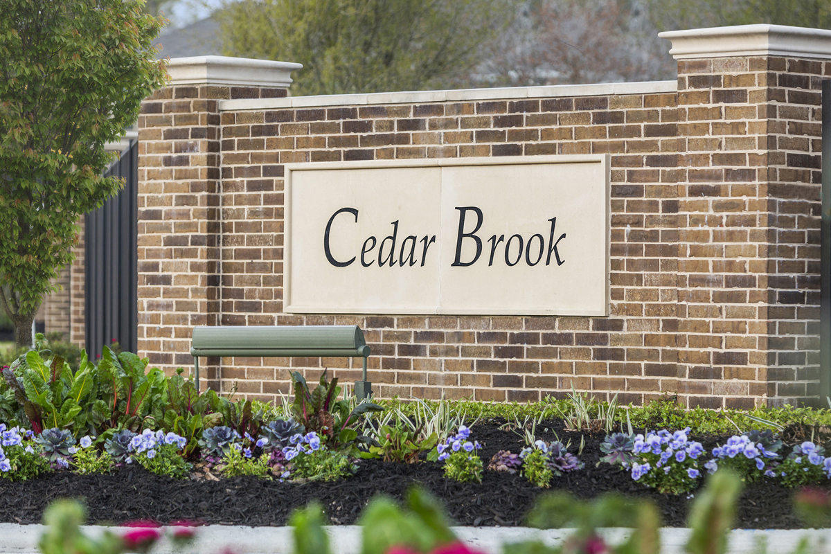 New Homes in Houston, TX - Cedar Brook Community Entrance