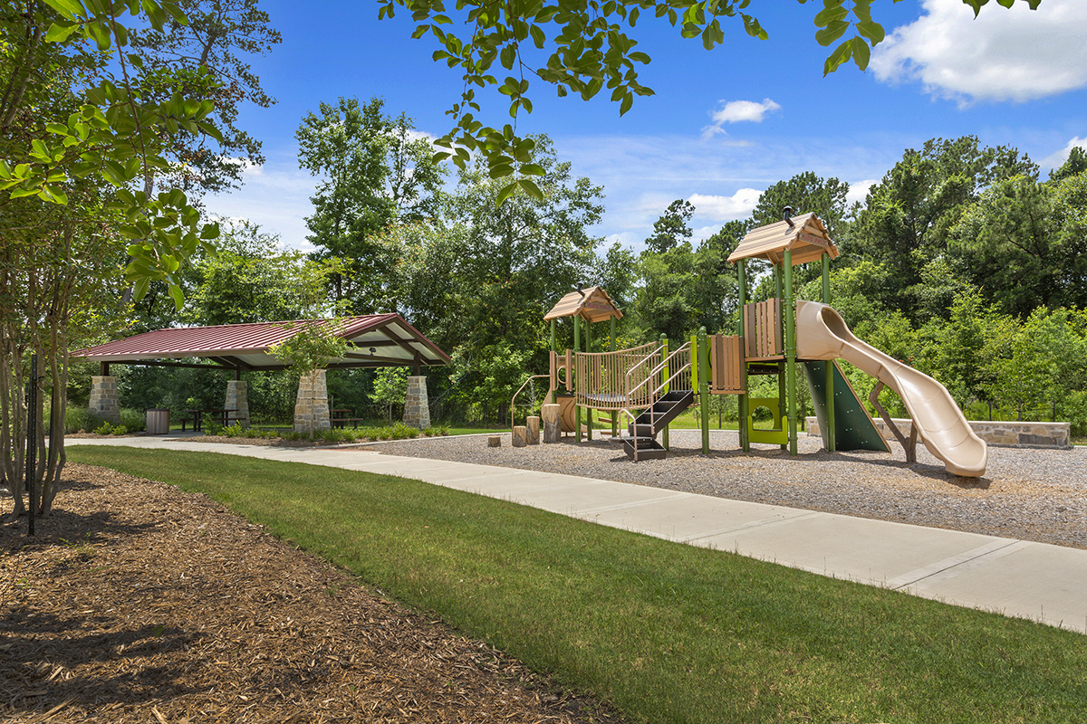 New Homes in Magnolia, TX - Cimarron Creek Preserve Park, Playground and Pavillion