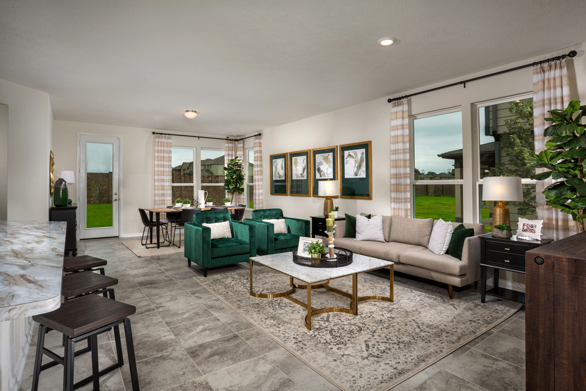 New Homes in Texas City, TX - Vida Costera Plan 1889 Great Room as modeled at Cypress Creek Landing