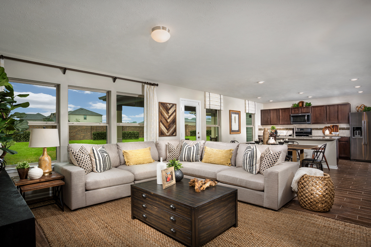 New Homes in Texas City, TX - Vida Costera Plan 2372 Great Room as modeled at Cypress Creek Landing