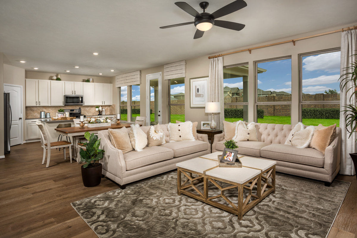 New Homes in Texas City, TX - Vida Costera Plan 2596 Great Room as modeled at Cypress Creek Landing