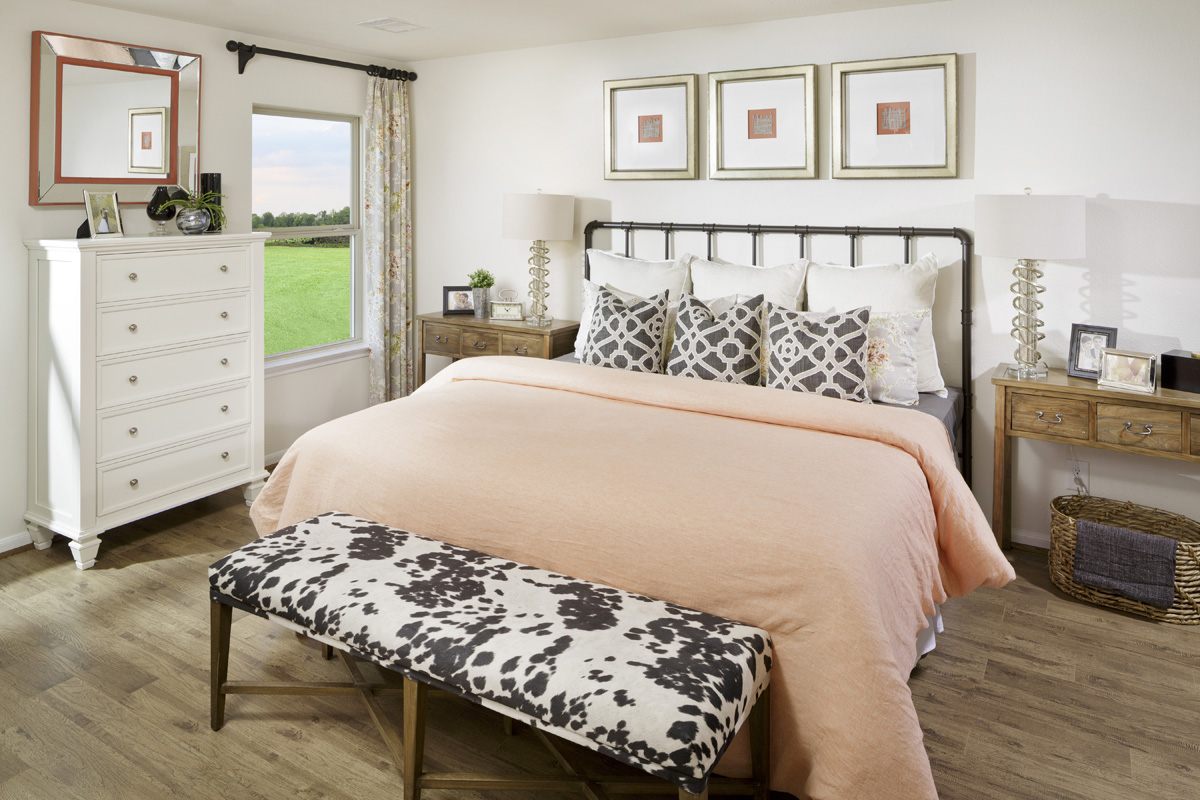 New Homes in Houston, TX - Benson Trace Plan 1585 Master Bedroom as modeled at Katy Manor Trails