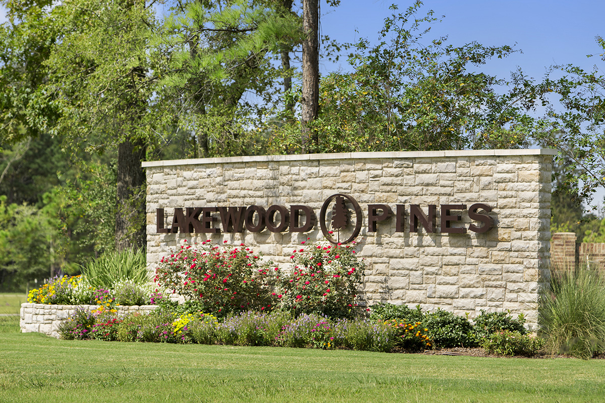New Homes in Houston, TX - Lakewood Pines Estates Community Entrance