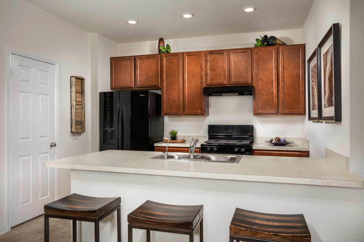 New Homes in Texas City, TX - Vida Costera Plan 1360 Kitchen as modeled at Timber Crossing
