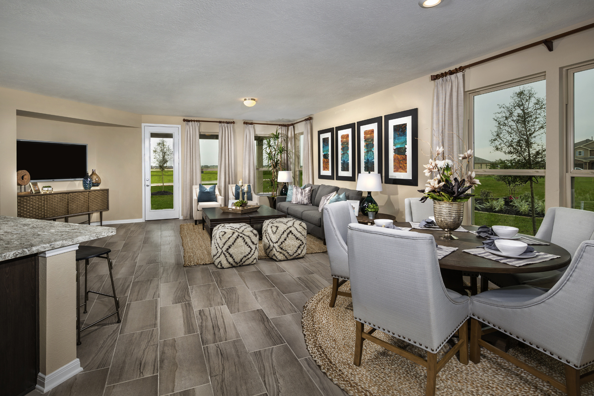 New Homes in Katy, TX - Anserra Springs Plan 2526 Great Room as modeled at The Meadows at Westfield Village