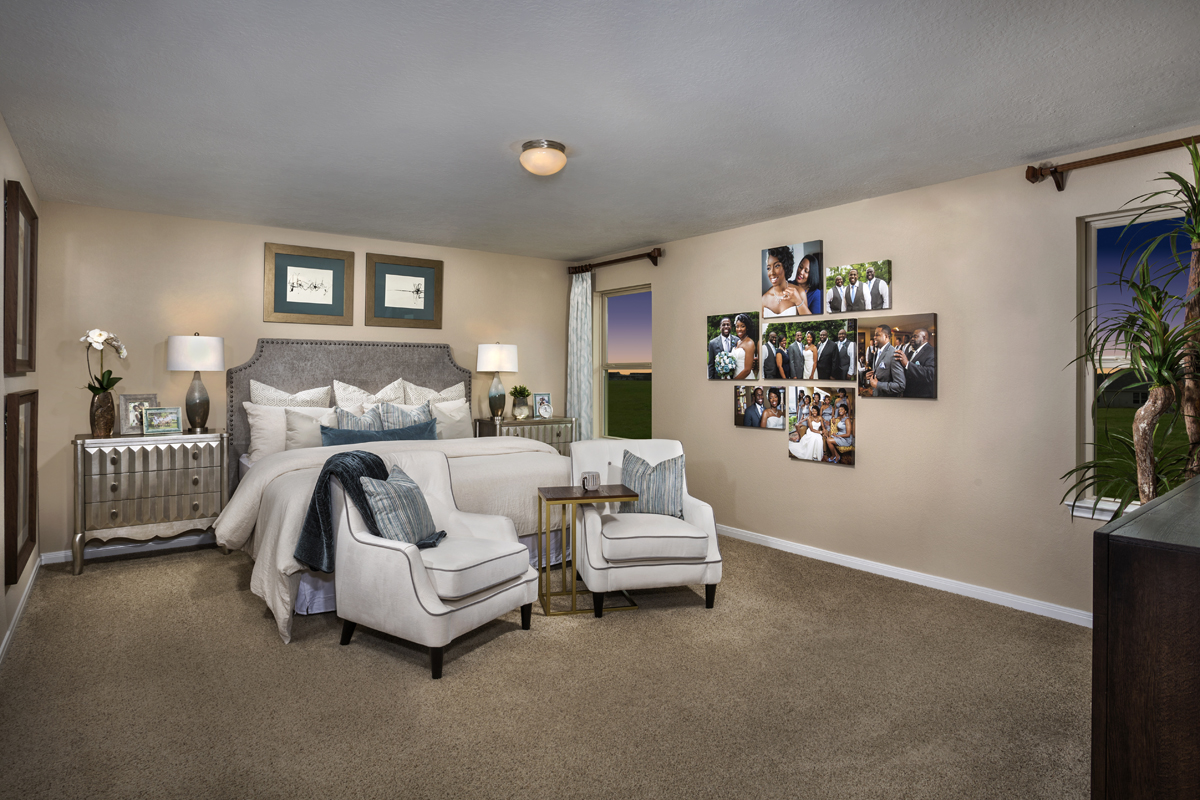 New Homes in Katy, TX - Anserra Springs Plan 2526 Master Suite as modeled at The Meadows at Westfield Village