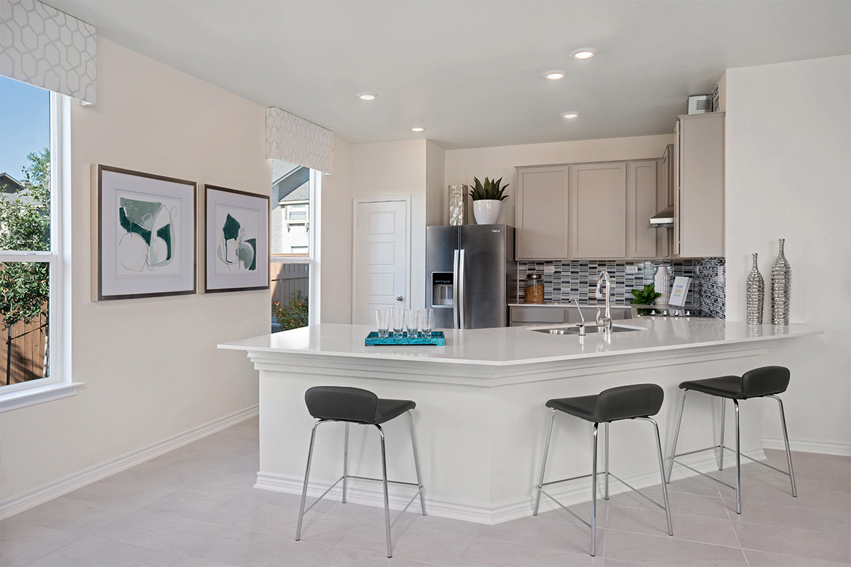 New Homes in San Antonio, TX - The Garrison The 1855 Kitchen as modeled at 5911 Eckhert