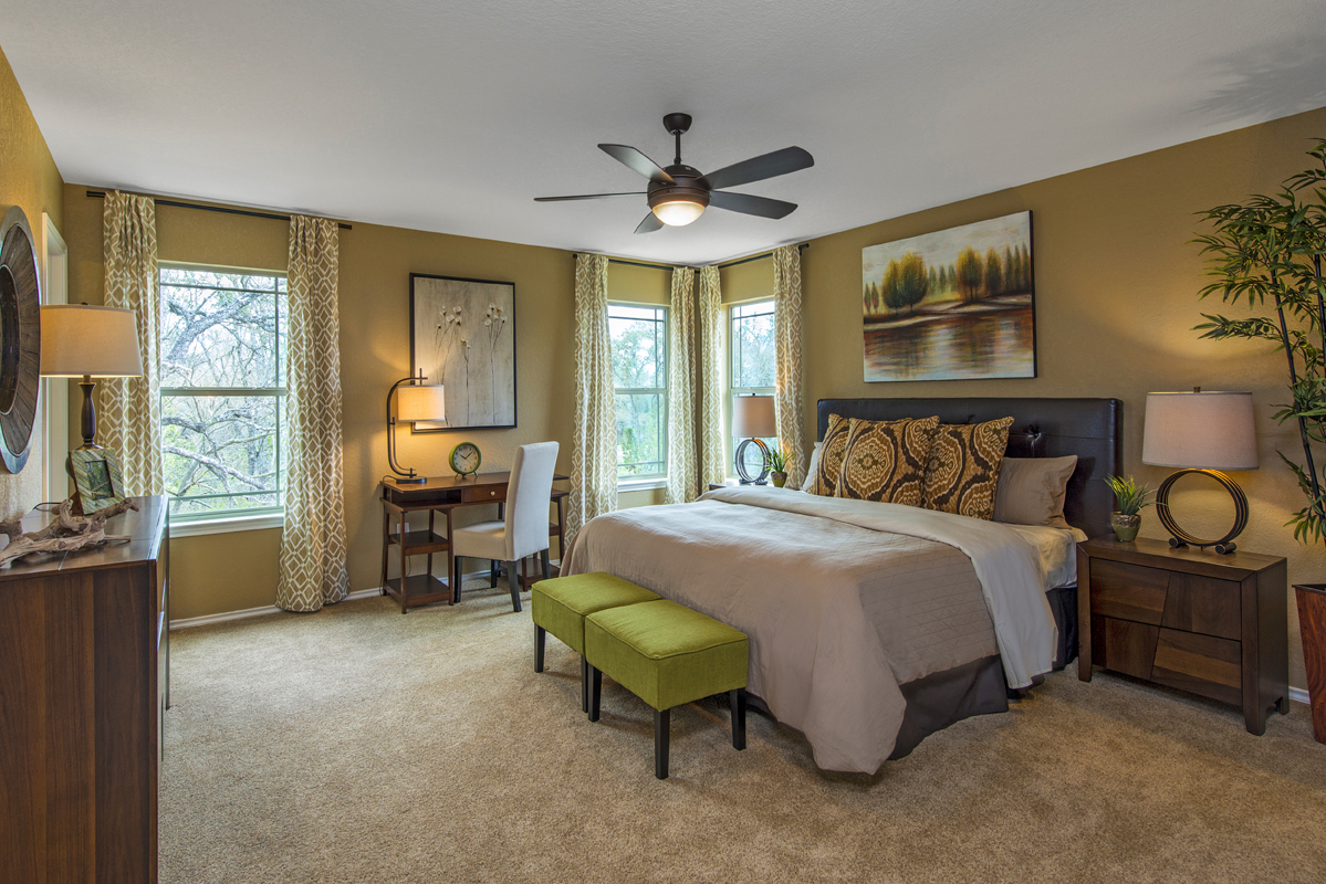 New Homes in San Antonio, TX - CrossCreek - Sterling and Heritage Collections The 2411 Master Bedroom