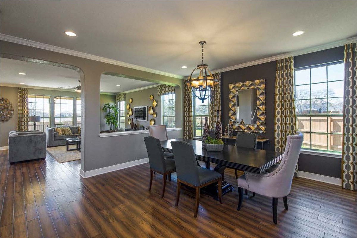 New Homes in San Antonio, TX - CrossCreek - Classic Collection The 3475 Dining & Living Room