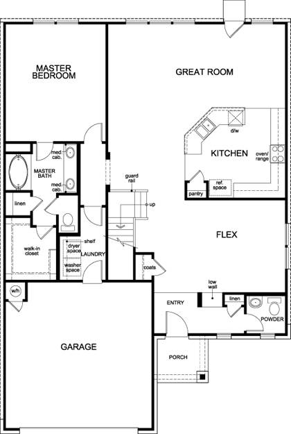 New Homes in New Braunfels, TX - Plan 2502, First Floor