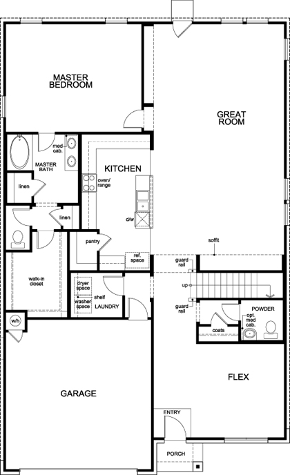New Homes in San Antonio, TX - Plan 3417 Modeled, First Floor