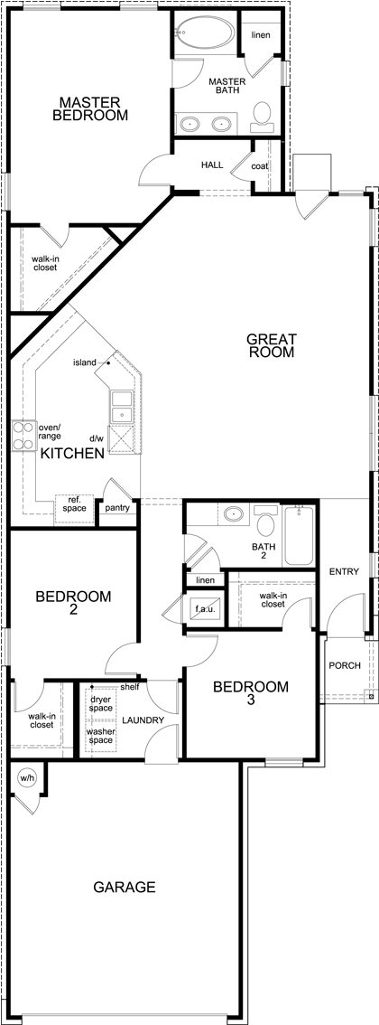 New Homes in New Braunfels, TX - Plan 1585 Modeled, First Floor