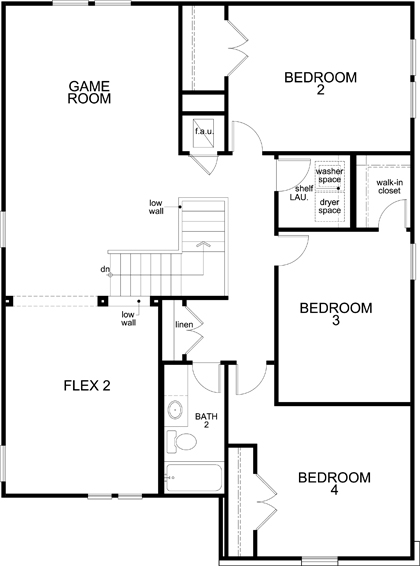 New Homes in New Braunfels, TX - Plan 2700, Second Floor
