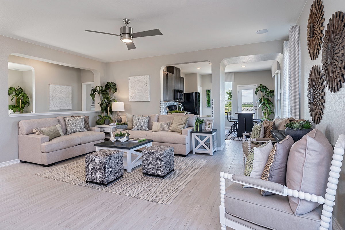 New Homes in Seguin, TX - Woodside Farms The 1516 Great Room as modeled at Knox Ridge