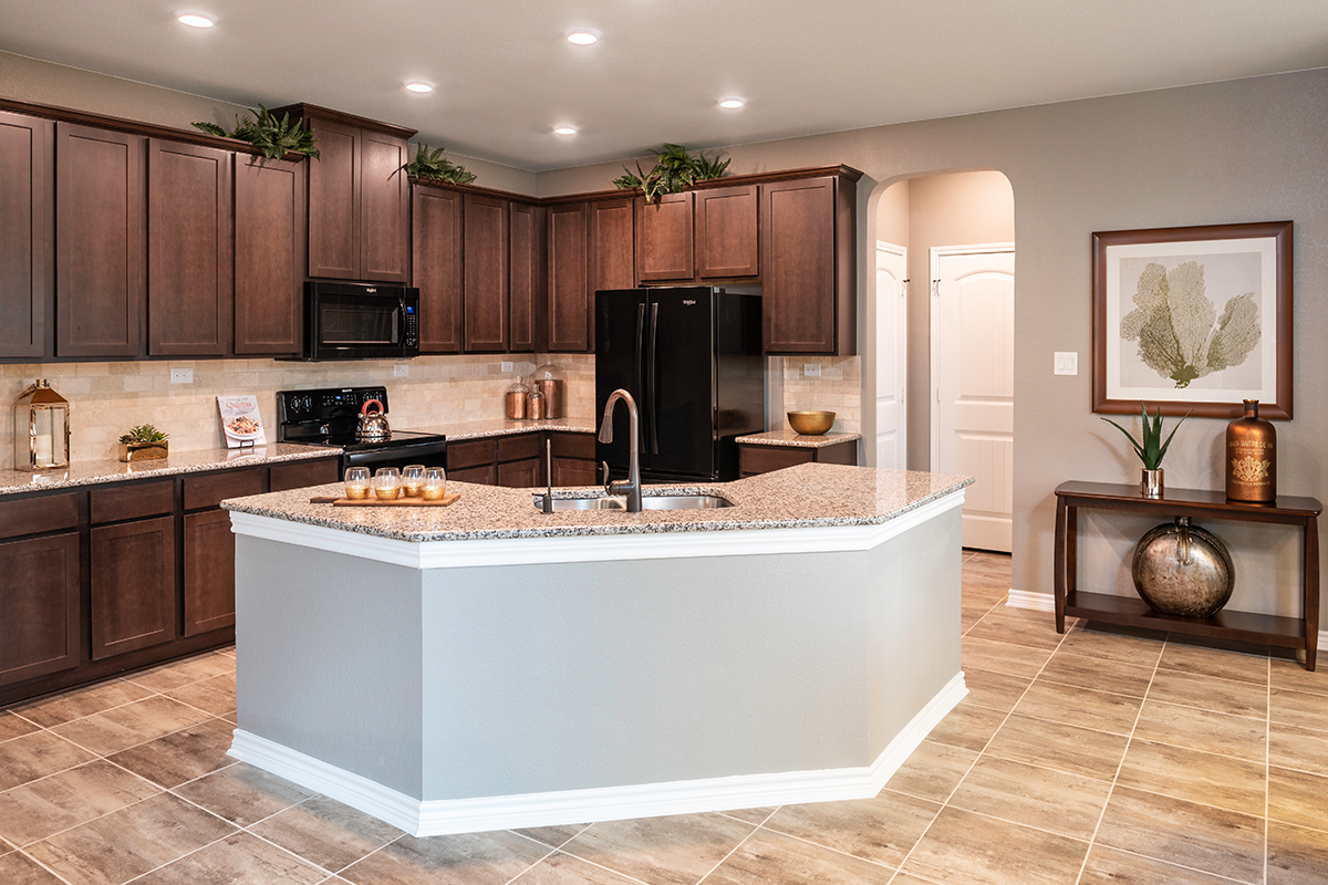 KB model home kitchen in Helotes, TX