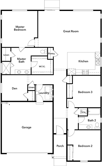 New Homes in Bonney Lake, WA - Plan 1857 Modeled, First Floor
