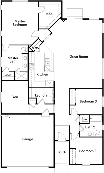New Homes in Bonney Lake, WA - Plan 1989, First Floor