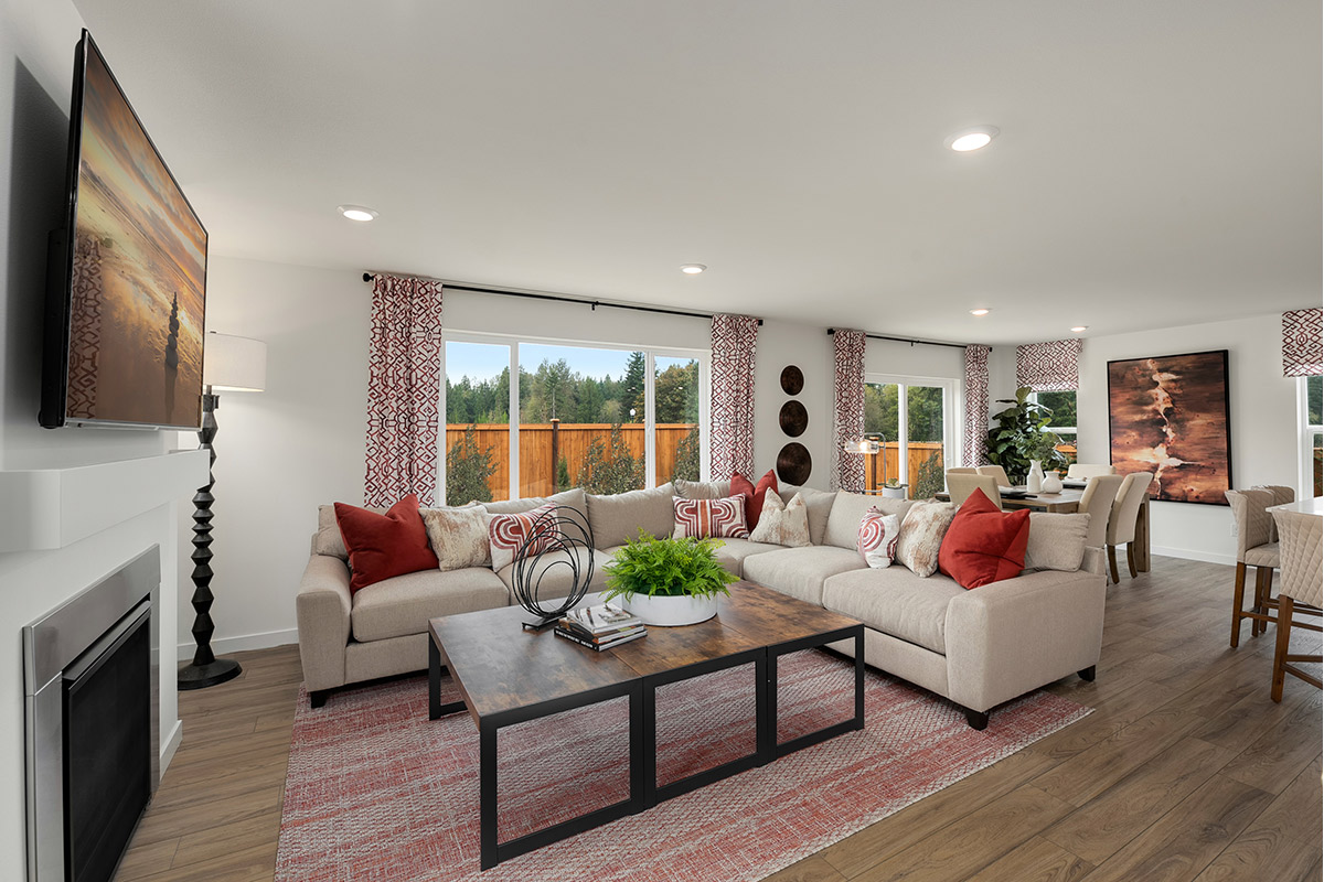 New Homes in Lacey, WA - Woodland Creek Plan 2265 Great Room as modeled at Little Soos Creek