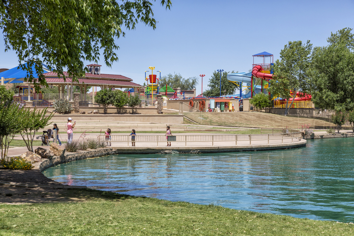 Splash park and pool at a KB Home community in Sahuarita, AZ