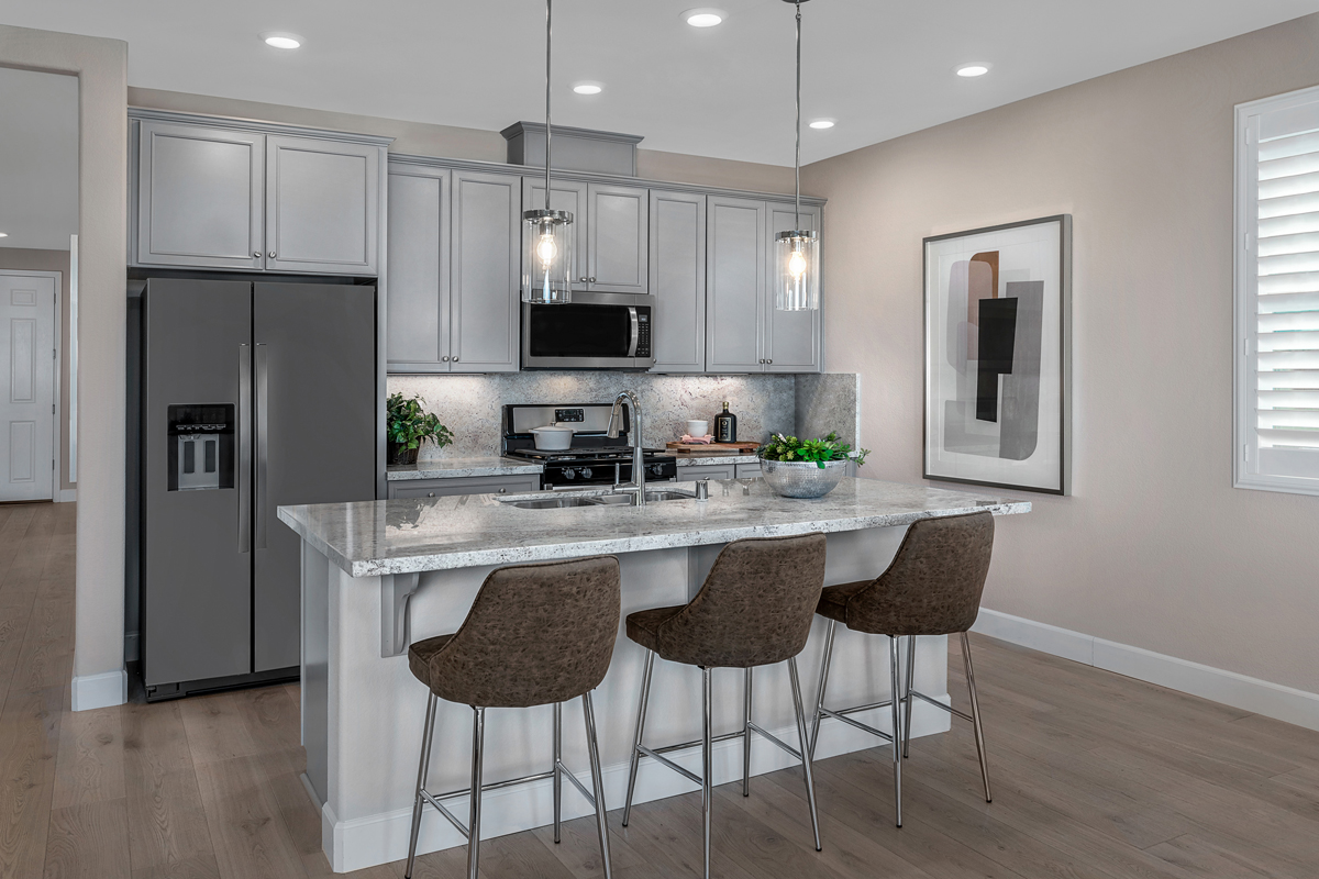 KB model home kitchen in Manteca, CA
