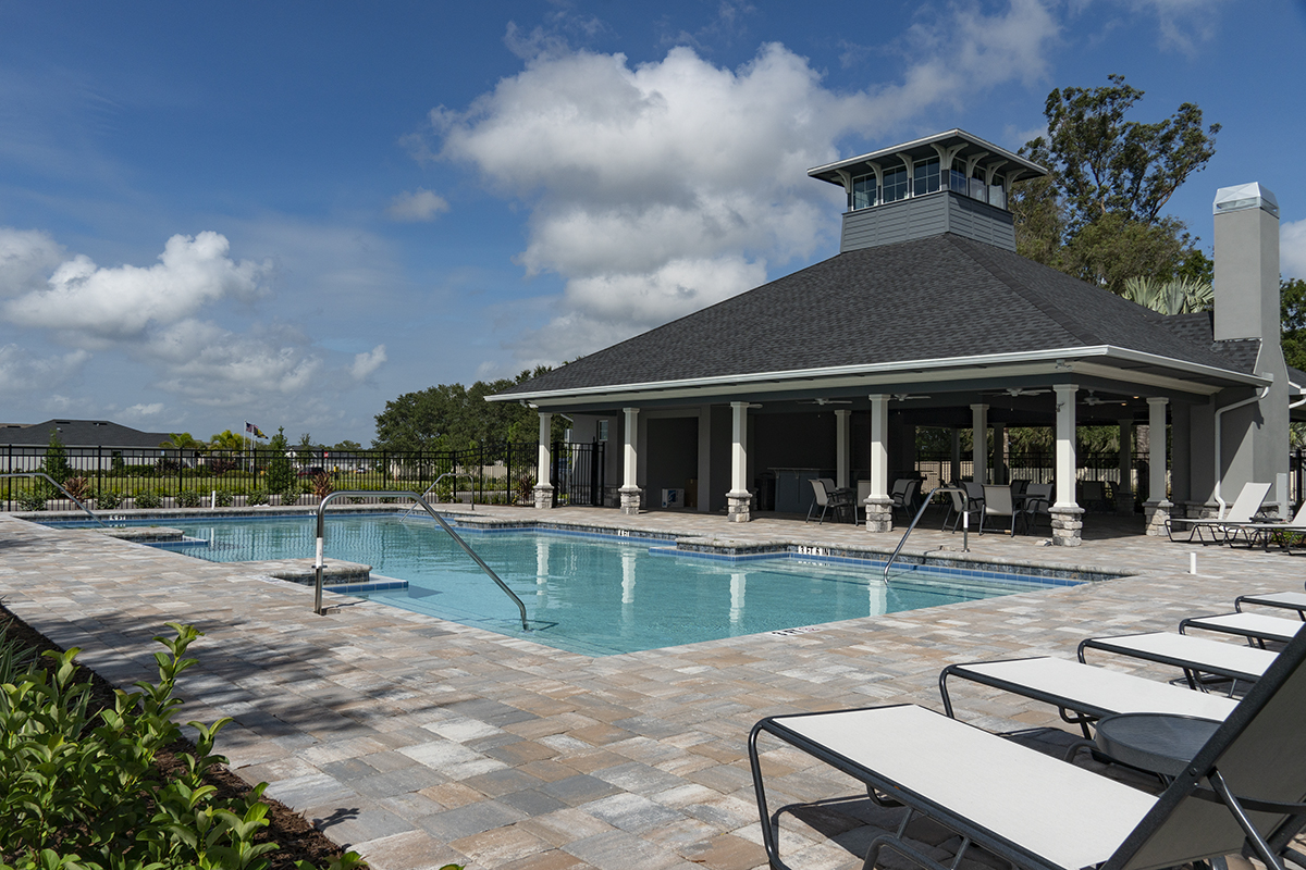 Pool and cabana at a KB Home community in Bradenton, FL